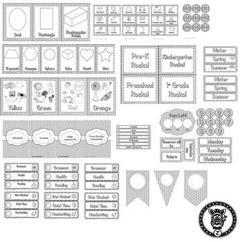 Classroom Theme Decor / Organization - Mega Bundle Editable! Color Me Polka Dots