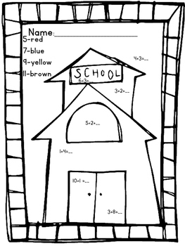 Back to School Addition Coloring