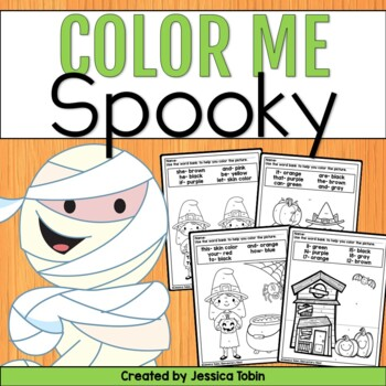 Halloween Color by Number and Sight Word- Coloring Sheets   TpT