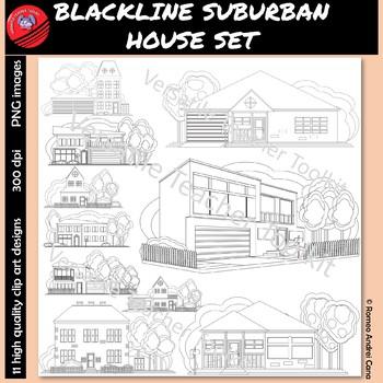 Color Me Suburban Houses Blackline Clip Art Set