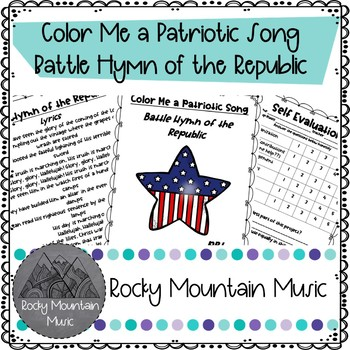 Color Me a Patriotic Song Battle Hymn of the Republic