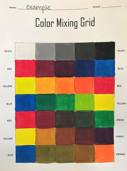 Color Mixing Practice Grid