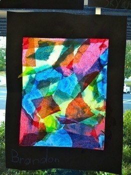 Elementary Art Lesson: Color Mixing Tissue Paper Collage