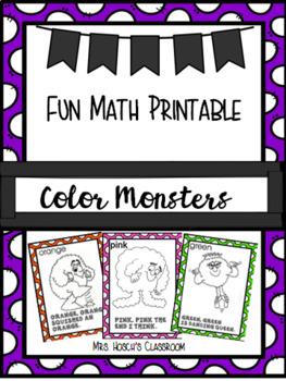 Color Monsters: Fun Math Printable