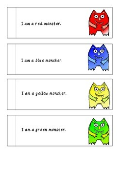 Color Monsters Emergent Reader Halloween Freebie