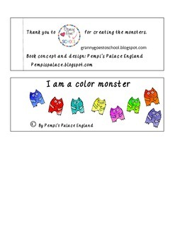 Color Monsters Emergent Reader Halloween Freebie