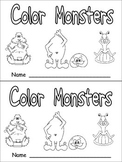 Color Monsters Emergent Reader- Preschool Kindergarten- Color Words and Rhyming