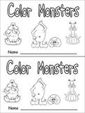 Color Monsters Emergent Reader- Preschool Kindergarten- Color Words and Rhyming