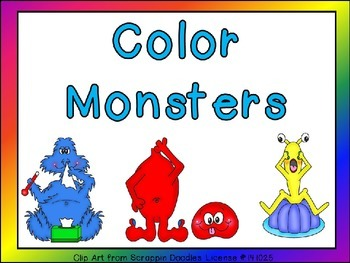 Color Monsters Shared Reading Preschool or Kindergarten Color Words and Rhyming