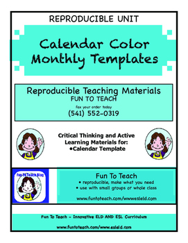 Color Monthly Calendar Templates