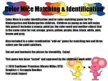 Color Mouse Matching and Identification