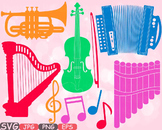 Color Music Instruments clipart panpipe accordion trumpet harp Violin SVG  -622s