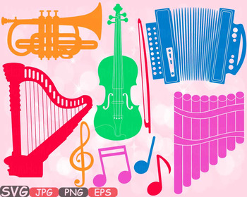 Color Music Instruments clipart panpipe accordion trumpet harp Violin SVG  -622s