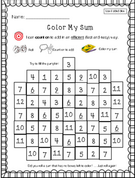 Color My Sums Addition Game