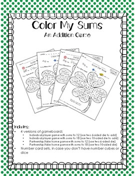 Color My Sums Addition Game CLOVER EDITION
