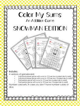 Color My Sums Addition Game SNOWMAN EDITION