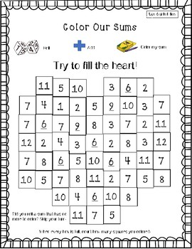 Color My Sums Addition Game VALENTINE'S EDITION