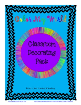 Classroom Decor Pack--Color My World ZB Manuscript
