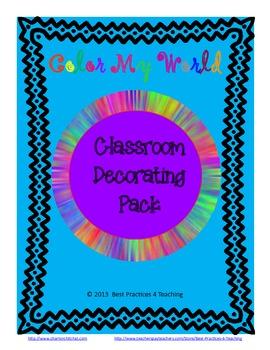 Classroom Decor Pack--Color My World ZB Manuscript