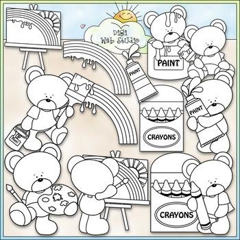 Color My World Bears Clip Art - Art Clip Art, Painting - CU Clip Art & B&W