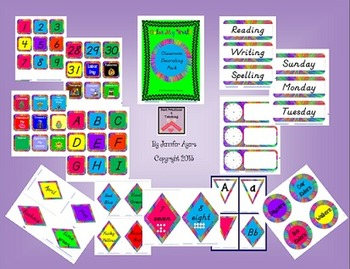 Classroom Decor Pack--Bright Color My World  DN Manuscript