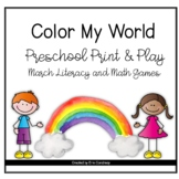 Color My World: March Preschool Literacy and Math Print & Play