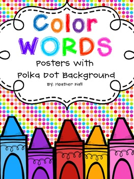 Crayon Doodle Color Word Posters - Polka Dot Background