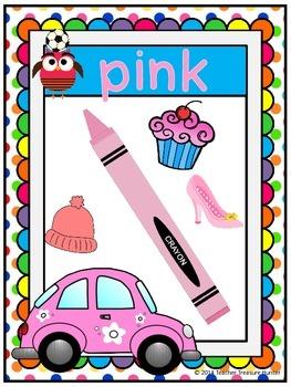 Color Name Posters ~ Owl theme & Polka Dots! A-Z Teacher Treasure Hunter