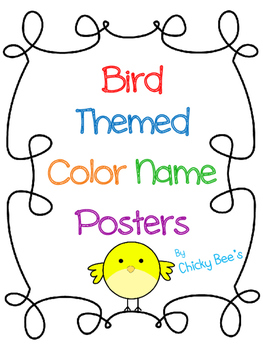 Color Name Posters and Booklet with Birds
