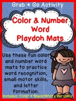 Color & Number Word Playdoh Work Mats (Includes Word List Page)