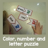 Color, Number and Initial sounds Gingerbread  puzzles