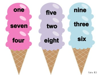 Ice Cream Literacy and Numeracy File Folder Games