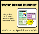 Basic BINGO Bundle - Colors, Shapes, & Numbers! (differentiated&minimal prep!)