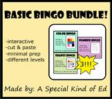 Basic BINGO Bundle - Colors, Shapes, & Numbers! (different