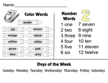 Color Number words Days of the