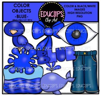 Color Objects - BLUE - Clip Art Bundle {Educlips Clipart}