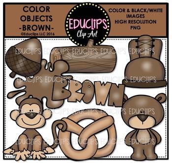 Color Objects - BROWN - Clip Art Bundle {Educlips Clipart}