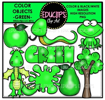 Color Objects - GREEN - Clip Art Bundle {Educlips Clipart}