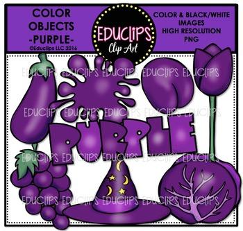 Color Objects - PURPLE - Clip Art Bundle {Educlips Clipart}