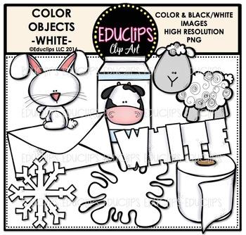 Color Objects - WHITE - Clip Art Bundle {Educlips Clipart}