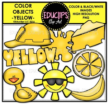 Color Objects - YELLOW - Clip Art Bundle {Educlips Clipart}