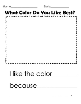 Color Opinion Writing Activity Kindergarten