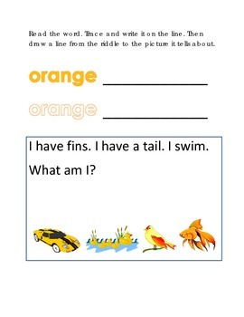Color Orange Reading Riddles Word Clues Emergent Reader Interactive What am I