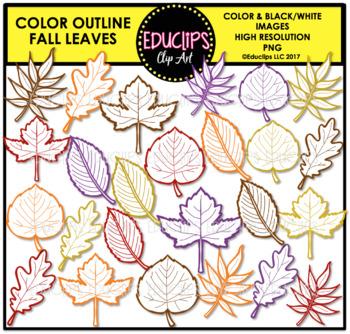 Color Outline Fall Leaves Clip Art Bundle {Educlips Clipart}