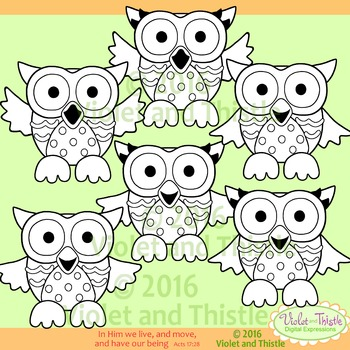Color Owls Color Clip Art + Line Art Rainbow Colors Mixed Variety of Colors