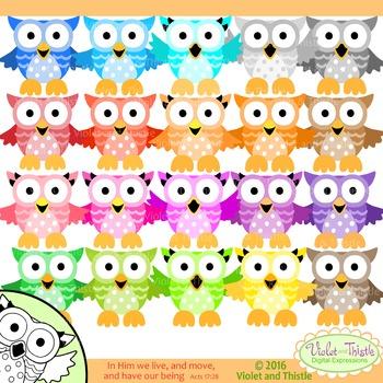 Color Owls Color Clip Art + Line Art Rainbow Colors Mixed
