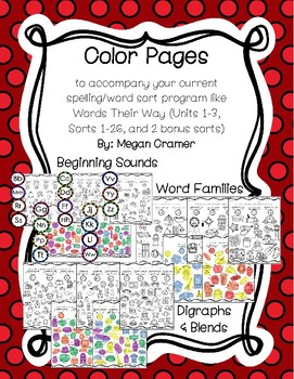 Color Pages Bundle (Words Their Way) U 1-3 Sorts 1-26 Letter Name-Alphabetic