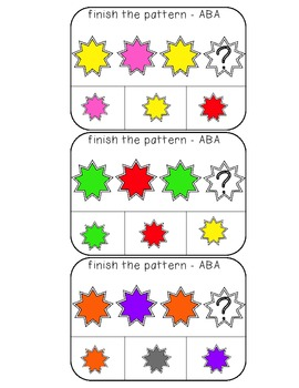 Color Patterns clothespin activity cards (ABA, ABB, AAB, ABC, and ABA patterns)