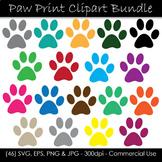 Color Paw Print Clip Art