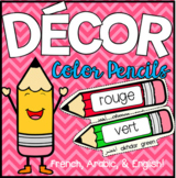 Color Pencils Wall Chart (French, Arabic, & English)